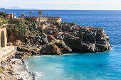 Seascape With Bird Eye View Of Mediterranean Coastal Town poster
