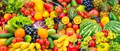 Assorted fresh ripe fruits and vegetables. Food concept background. Top view. Copy space. poster
