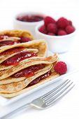 Pancakes With Raspberry Jam & Fresh Raspberries