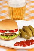 Mini Cheese Burger, Beer And Pickles
