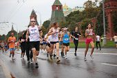 MOSCOW, RUSSIA - SEPTEMBER 12: Crowd people run on Kremlin embankment in XXX Moscow International Peace Marathon on September 12, 2010 in Moscow, Russia. It is big annual festival of racing.