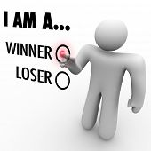 Will you choose I am a Winner or Loser?  A man at a touch screen wall chooses the word Winner to symbolize his self confidence and belief that he can and will succeed