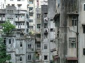 stock photo of urbanisation  - Run Down Living Quarters in Hong Kong - JPG