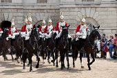 LONDON - JUNE 14: Unidentified members of The Queen's Life Guard or Horse Guard  participate in the