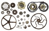 Collection of vintage machine gears. Set of retro gear wheels. Cogwheel isolated on white background poster