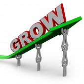 A team of people lift an arrow and the word Grow, symbolizing the growth that can be achieved with m