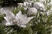 Christmas Decoration In Green And Silver