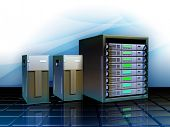 Different servers as hosting solutions for web applications. Digital illustration.