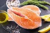 Raw, fresh salmon steak on a slate board and spices around. Raw salmon red fish. Cooking salmon, sea poster
