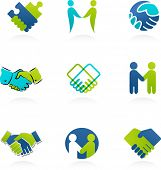 stock photo of prosperity sign  - collection of handshake icons and elements - JPG