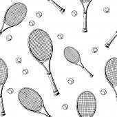 Tennis Background. Seamless Pattern Of Hand-drawn Black Sketch Style Tennis Racquet With Tennis Ball poster