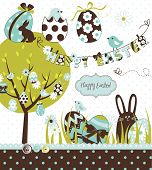 Easter Extravaganza. Big Easter set with cute chocolate rabbit, colourful eggs, chicks, Easter tree and a Clothesline with letters on it. Ideal for scrap-booking