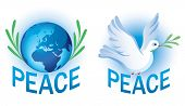 Peace vector symbols with dove and Earth
