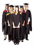 group of diverse graduates full length portrait on white