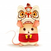 The Little Rat With Chinese New Year Lion Dance Head. Chinese New Year. Year Of The Rat. poster