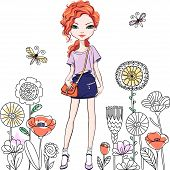 Cute Beautiful Redhead Girl With Long Hair In T-shirt And Skirt, With Bag poster