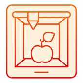 3d Food Printing Flat Icon. 3d Apple Print Orange Icons In Trendy Flat Style. 3d Meal Printing Gradi poster