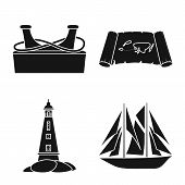 Vector Design Of Journey And Seafaring Sign. Collection Of Journey And Adventure Stock Symbol For We poster