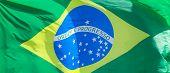 Brazil National Flag Textile Cloth Waving On Top, Blue Sky Brazil, Patriotism Concept. poster