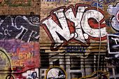 pic of street-art  - New York city sign in graffiti sign in lower Manhattan - JPG