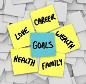 Many sticky notes with your personal Goals written on them including love, family, career, wealth an