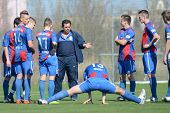 KAPOSVAR, HUNGARY - MARCH 17: Videoton players listening to trainer at the Hungarian Championship un