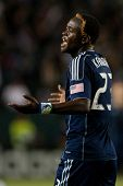 CARSON, CA. - MAY 14: Sporting Kansas City F Kei Kamara #23 during the MLS game between Sporting Kan