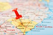 Red Clerical Needle On A Map Of Usa, South South Carolina And The Capital Columbia. Close Up Map Of  poster