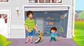 Happy Fatherhood, Day Off With Son Cartoon Vector Concept With Little Boy Spending Time With Father  poster
