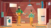 Home Plumbing, Repair Or Appliances Installation Service Cartoon Vector Concept. Workers In Uniform  poster