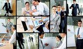 Collage de socios que trabajan en la oficina