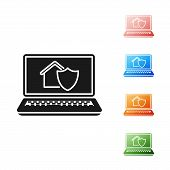 Black Laptop With House Under Protection Icon Isolated On White Background. Protection, Safety, Secu poster