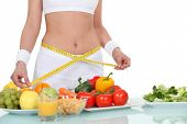 image of slim model  - woman eating healthy food - JPG