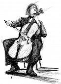 Illustration of a violoncellist playing