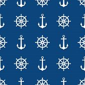 Anchor And Ship Wheel Seamless Pattern Design. Vector Nautical Sea Pattern Print, White Ship Wheel A poster