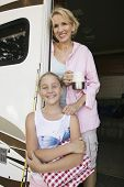 Mother and Daughter in Doorway of RV