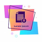 Purple Upload File Icon Isolated On White Background. File Document Symbol. Document Arrow. Color Re poster