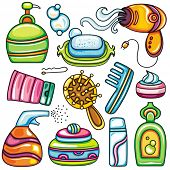 Icon set hygiene accessories.Vector series of design elements or icons and accessories, relating to