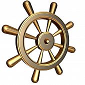 image of ship steering wheel  - 3d rendering of golden ship - JPG