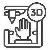 3d Organ Printing Line Icon. Bionic Hand Printing Vector Illustration Isolated On White. 3d Arm Prin poster