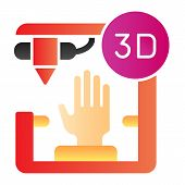 3d Organ Printing Flat Icon. Bionic Hand Printing Color Icons In Trendy Flat Style. 3d Arm Printing  poster