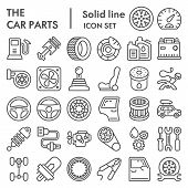 Car Parts Line Icon Set, Auto Details Symbols Collection, Vector Sketches, Logo Illustrations, Autom poster