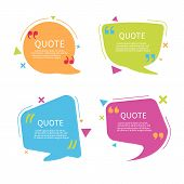 Quote Bubble Box Template With Text. Speech Bubble With Quote In Flat Style.text Box With Frame. Geo poster