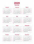2020 Yearly Calendar - 12 Months Yearly Calendar Set In 2020 - Calendar Template - Planner Timetable poster