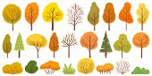 Yellow Autumn Trees. Colorful Garden Tree, Autumnal Garden Bush And Fall Season Tree Leaves. Forest  poster