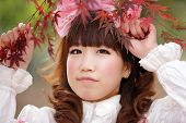 japanese lolita portrait in  fall season, Tokyo