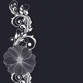 Dibujo de la mano fondo floral con Dalia flor. Elemento de diseño. Ilustración del vector.