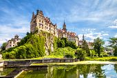 Sigmaringen Castle At Danube River, Germany. This Beautiful Castle Is A Landmark Of Baden-wurttember poster