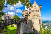 Lichtenstein Castle With Bridge, Baden-wurttemberg, Germany. This Fairy Tale Castle Is A Landmark Of poster