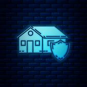 Glowing Neon House Under Protection Icon Isolated On Brick Wall Background. Protection, Safety, Secu poster